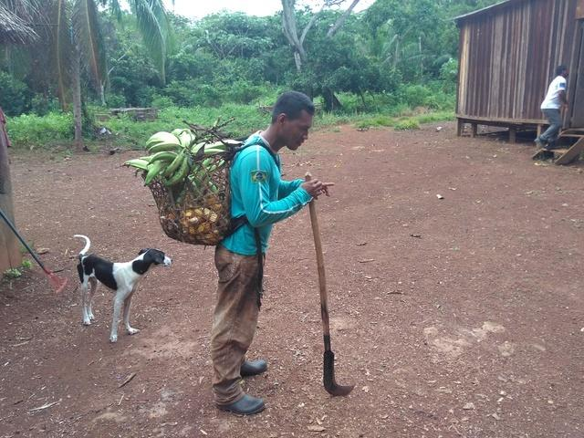 Homem Kujubim regressando do trabalho. Em suas costas, o paneiro, cesta comumente utilizada para carregar cultivos da roça. Foto: Gabriel Sanchez, 2018.
